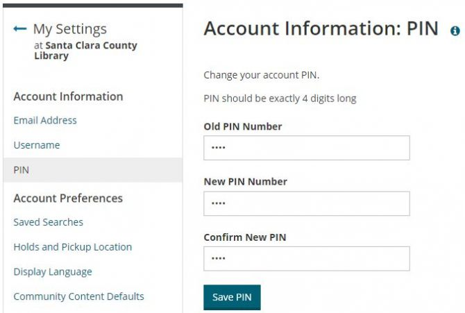 New PIN Account Settings