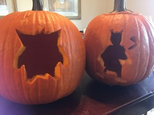 Pokemon Pumpkins -- Gengar and Mewtwo