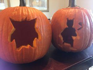 Pokemon Pumpkins -- Gengar and Mewtwo