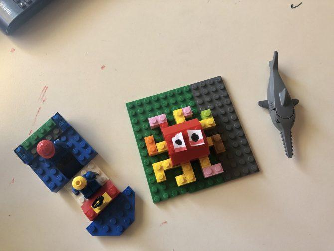 Octopus, boat, shark