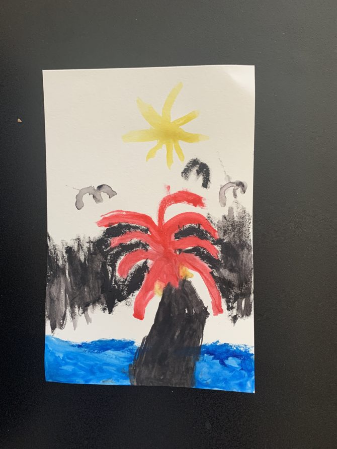 Volcano in Watercolor