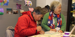 Older adults painting