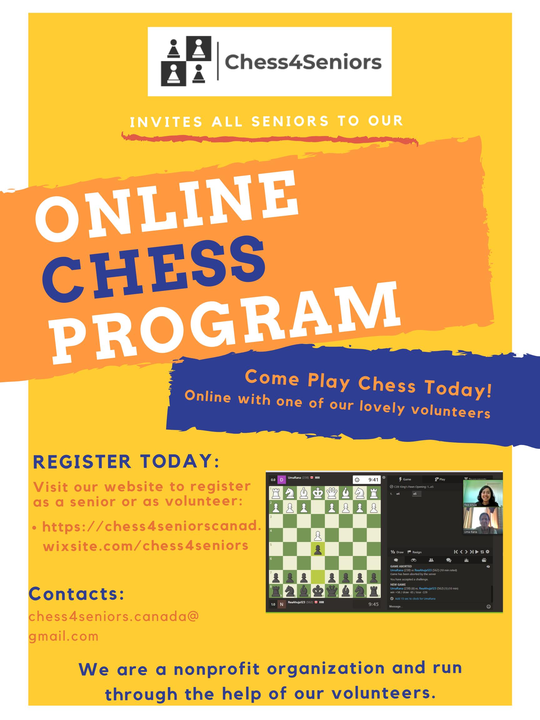 Chess 4 Seniors flyer
