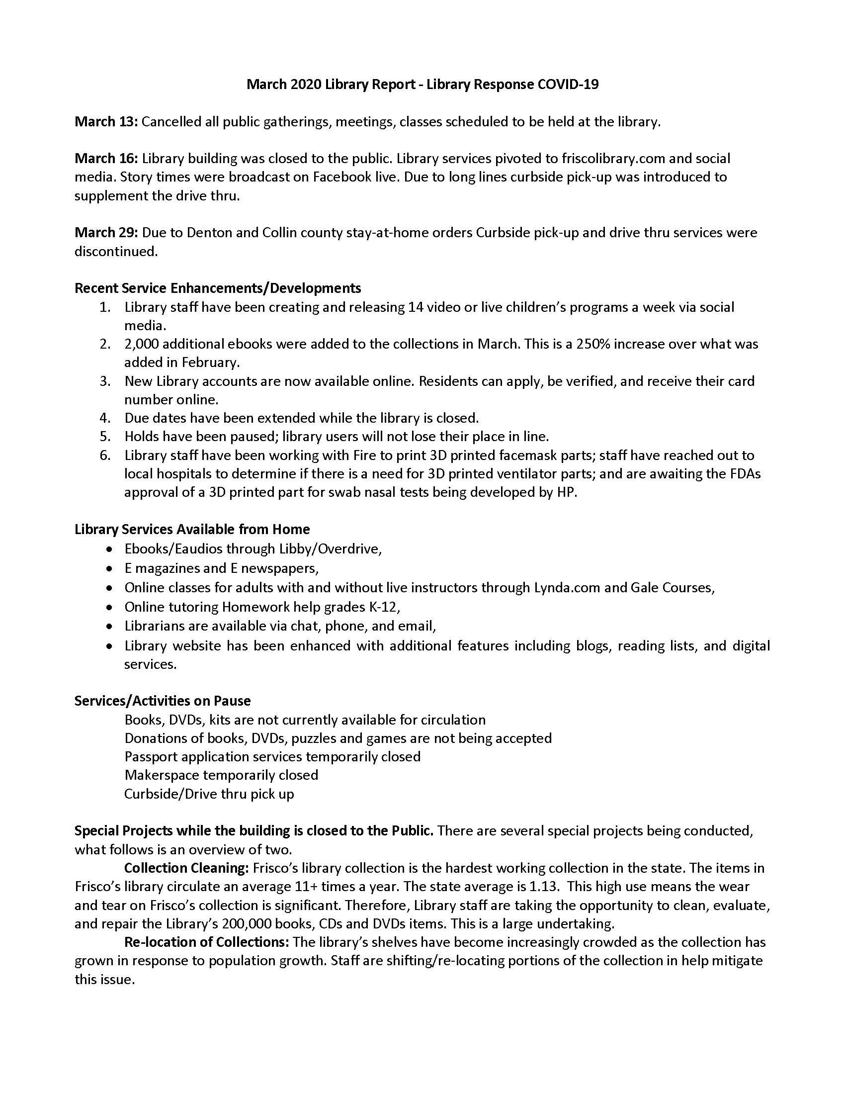 April 2020 Frisco Public Library City Council Report
