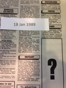 Example of death notice indexed for Ryerson Index Leader Newspaper January 1989