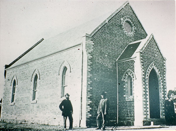 Methodist Church, Main Street, Greensborough.  Site of new shopping complex before construction in 1983. The Church was built in 1872.  Date of photograph unknown. Diamond Valley Local History Digitisation Project