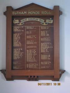 Eltham St Margarets Honour Roll Board