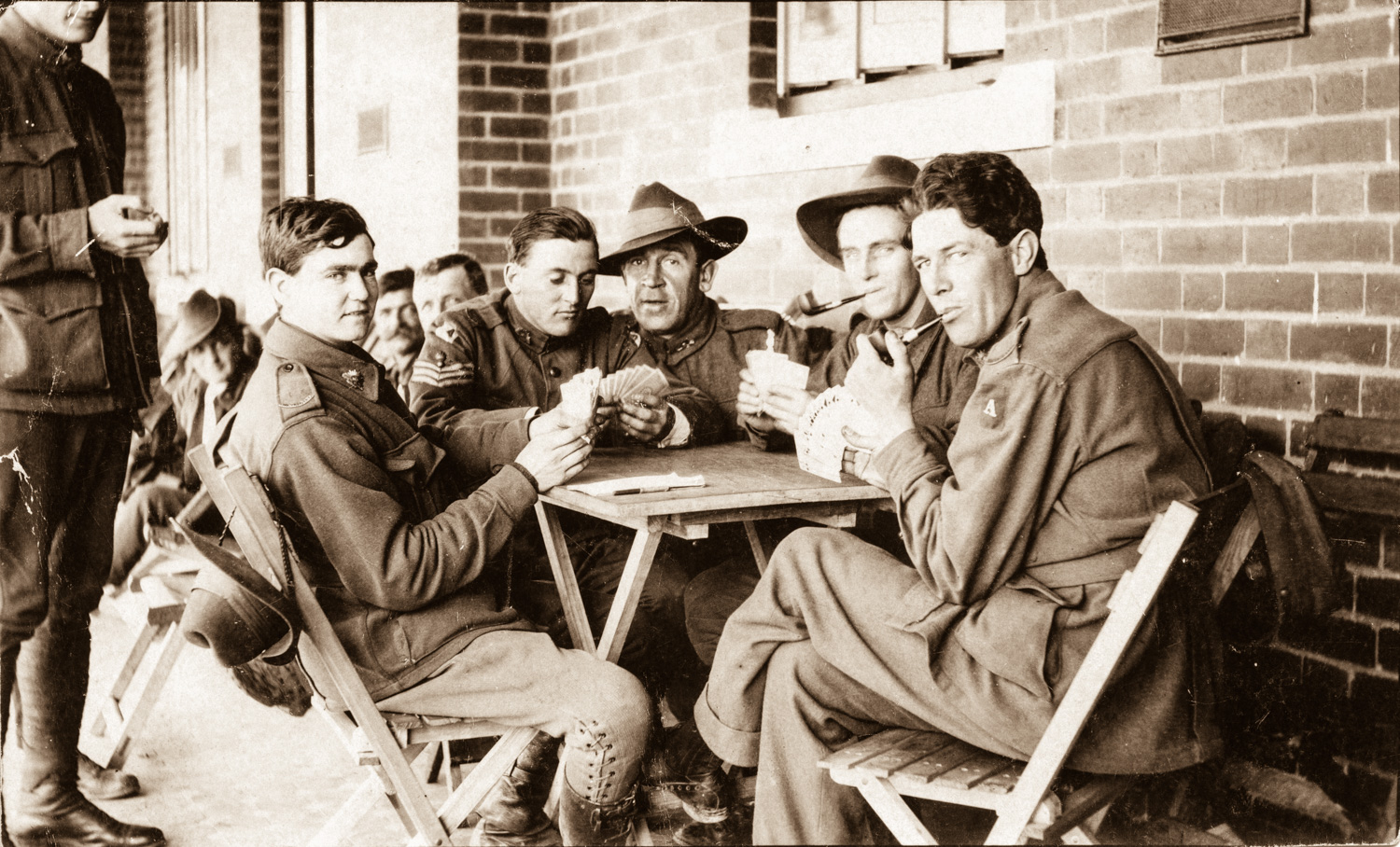 Patients playing cards, 16th Australian General Hospital, Mont Park. Alice Broadhurst Collection. Yarra Plenty Regional Library