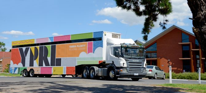 Mobile Library out front of Whittlesea Library