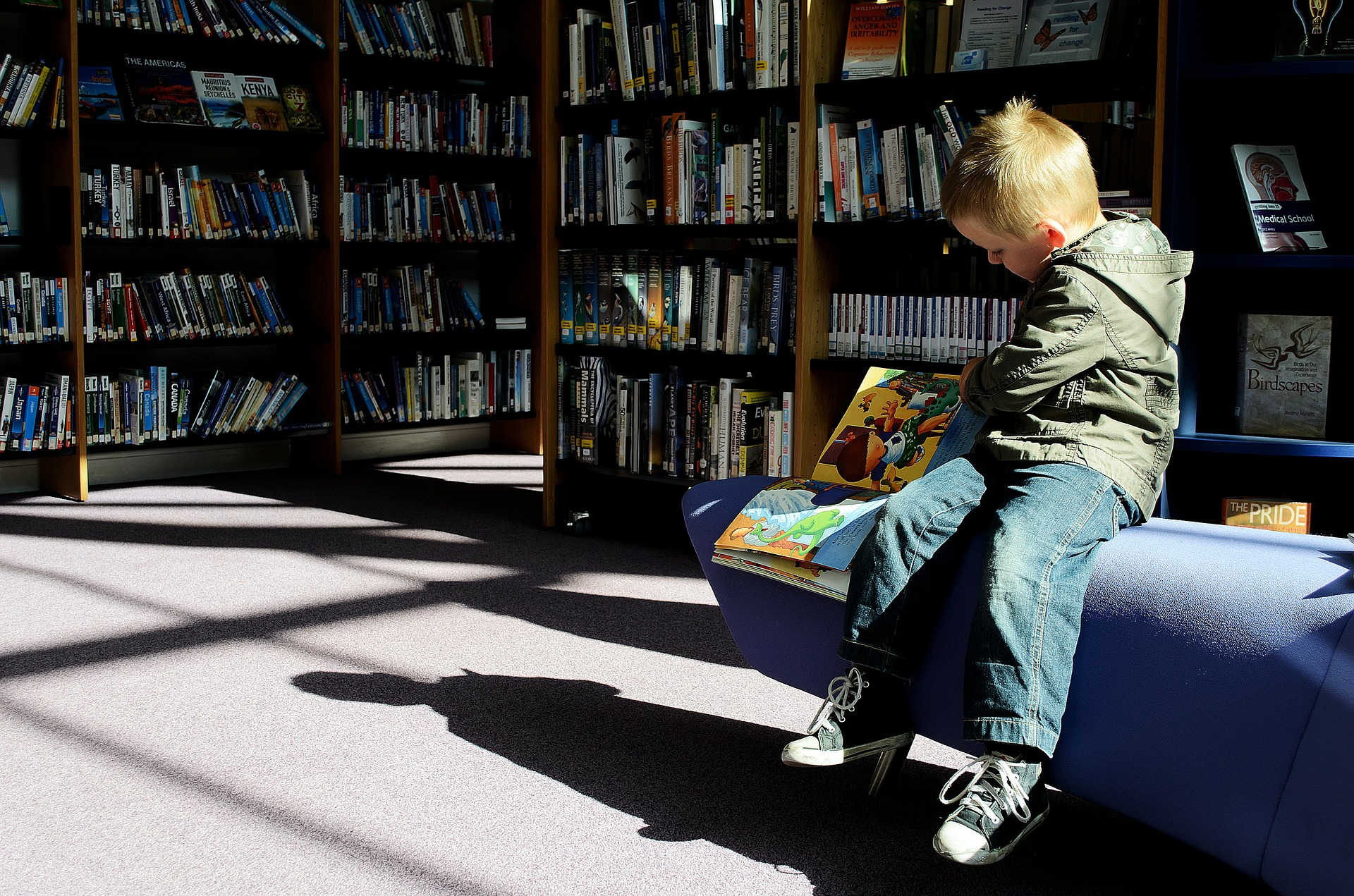 Kid reading in the library