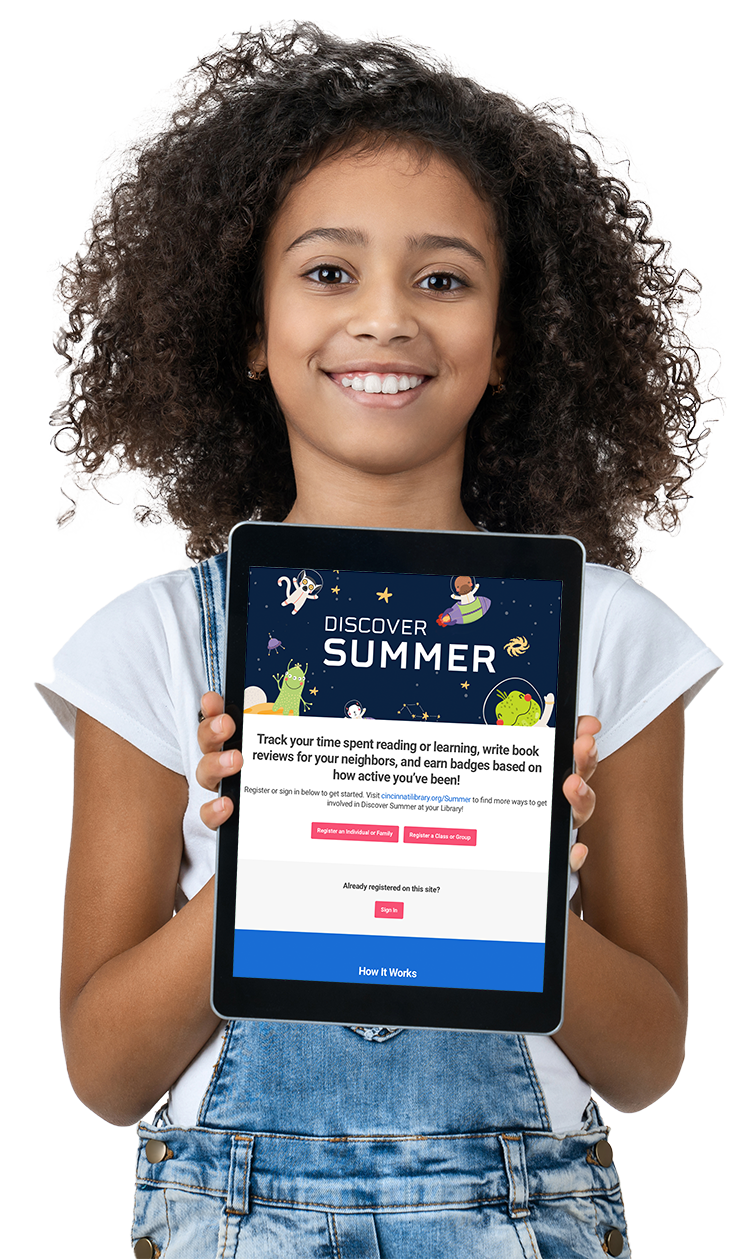 Girl using Library learning app