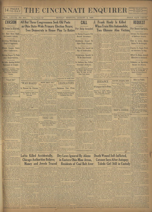 Vintage newspaper front page - August 3 1920
