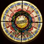 Historic stained glass window -Science