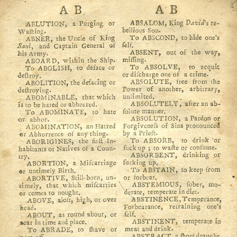 Portion of a page from the Library's Dictionary Collection