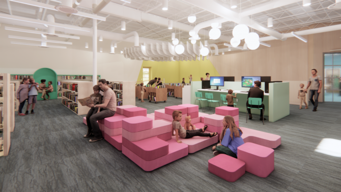 Artist's rendering of children's area of Deer Park Branch Library
