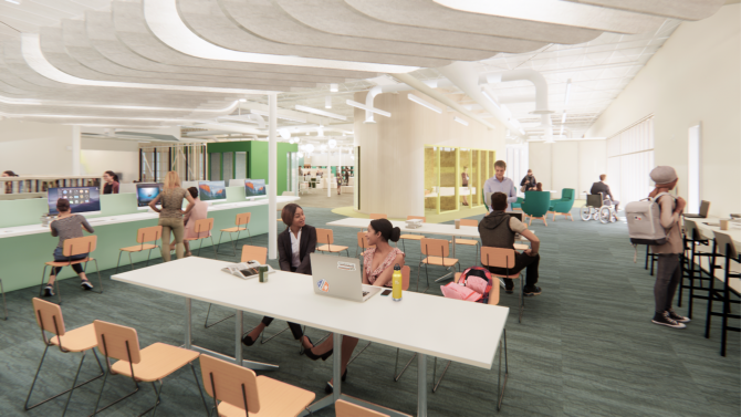 Artist's rendering of teen area of Deer Park Branch Library