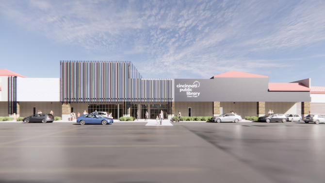 Artist's rendering of exterior elevation of Deer Park Branch Library