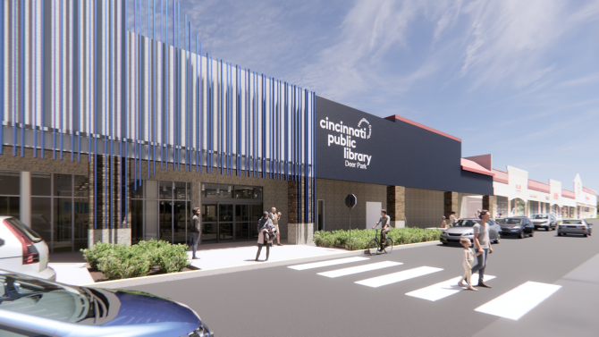 Artist's rendering of exterior entry to Deer Park Branch Library