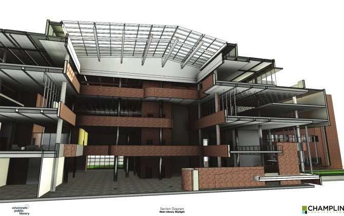 Rendering of the Downtown Main Library skylight update