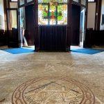 Entry doors and vintage tile floor