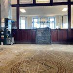 Entry doors and vintage tile floor facing Children's Room