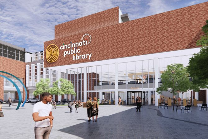 Downtown Main Library exterior plaza rendering
