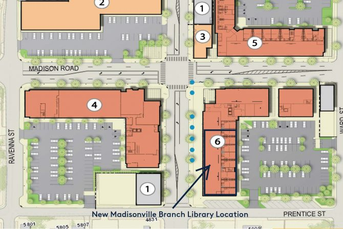 New Madisonville branch library location on street map