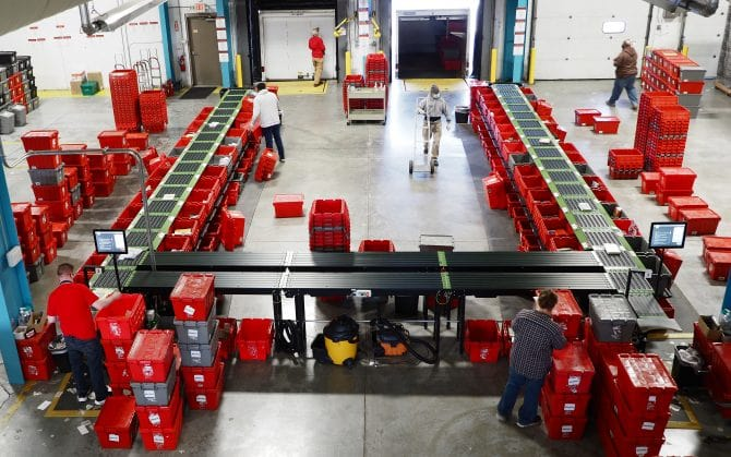 Distribution Center sorter - Overhead view