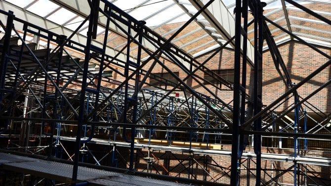 Scaffolding below the skylight at Main