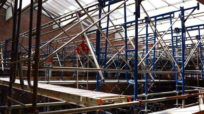 Scaffolding below the skylight