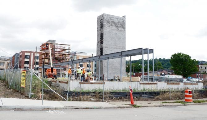 Construction on the building to house the Madisonville Branch Library