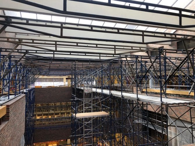 Downtown Main Library scaffolding underneath skylight in South building