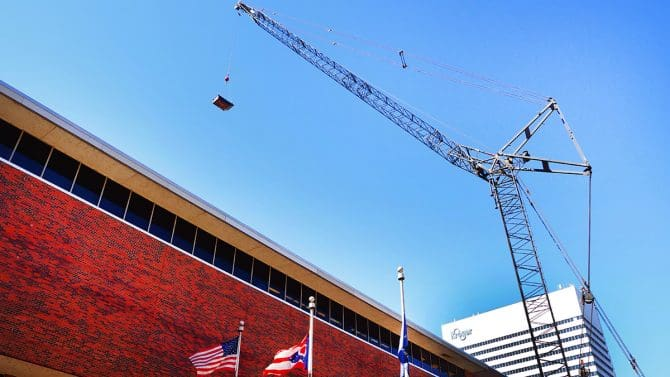 Crane over the Downtown Main Library's South Building