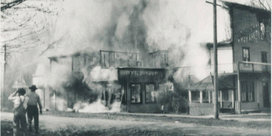 Hotel in flames, 1921, Historic Photo
