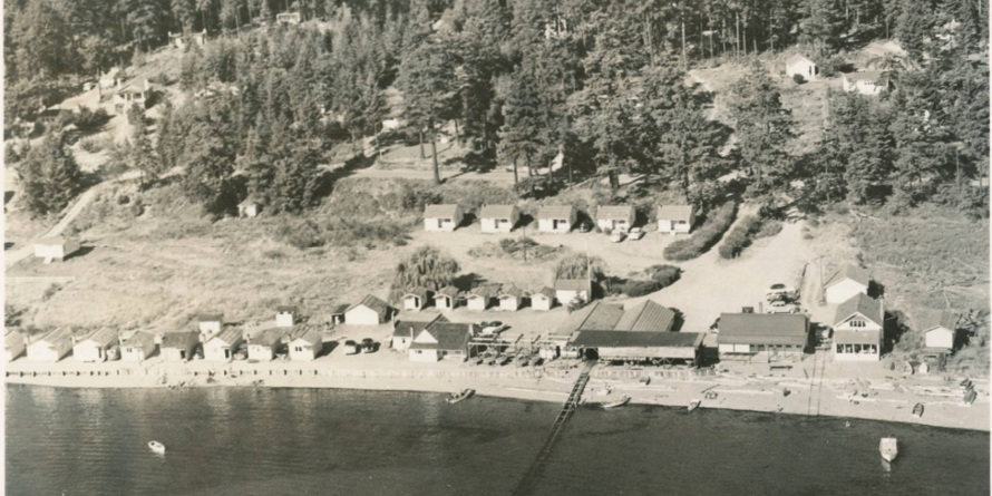 Aerial view of fishing resort in Mutiny Bay 1950s, Historic Photo