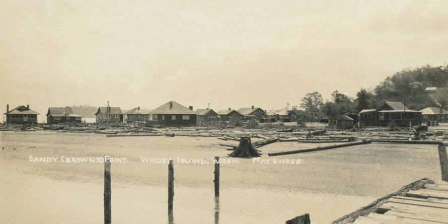 Waterfront community as seen from a dock, 1922, Historic Photo