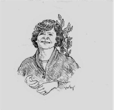 drawing of Judith Lowry by Vanessa Waring