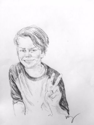 drawing of Arlo Murch by Vanessa Waring