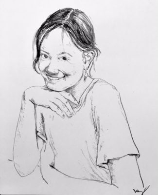 drawing of Rain Pinkham Hines by Vanessa Waring