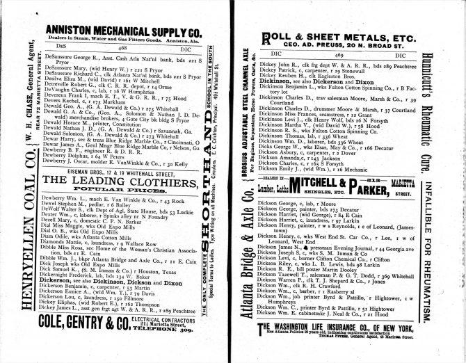 CENTRAL - CITY DIRECTORIESAtlanta City Directory, 1888 (2)