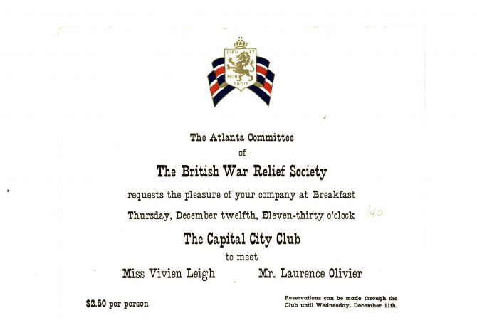 CENTRAL - MARGARET MITCHELL British war relief invite
