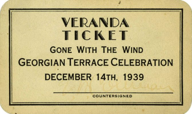 CENTRAL - MARGARET MITCHELL premier veranda ticket