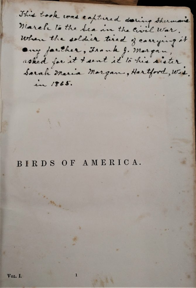 CENTRAL - RARE BOOKS Birds of America - Inscription (2)