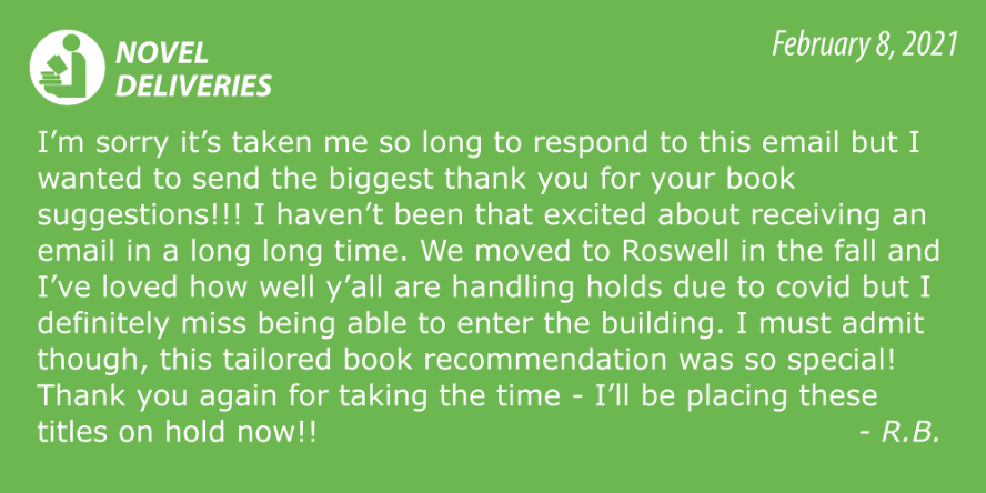 Novel Deliveries Testimonial