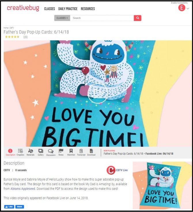 Make a pop-up card for Father's Day with Creative Bug!