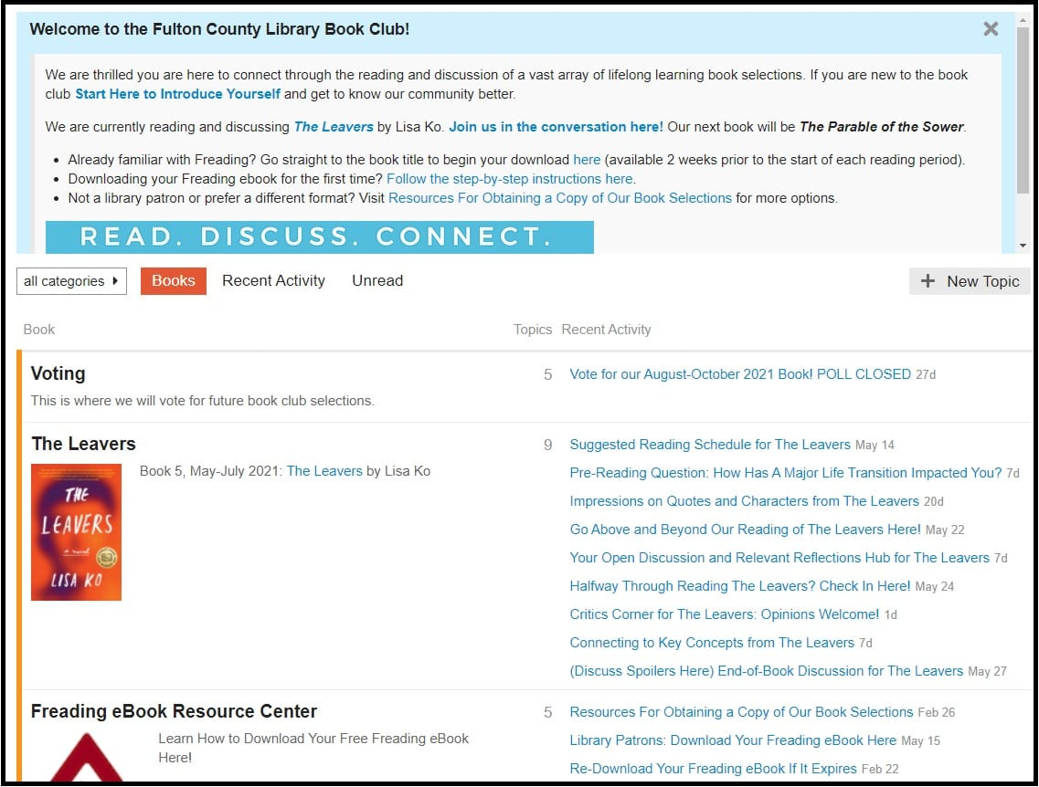 Online Book Club provides a place to discuss books chosen by our readers.