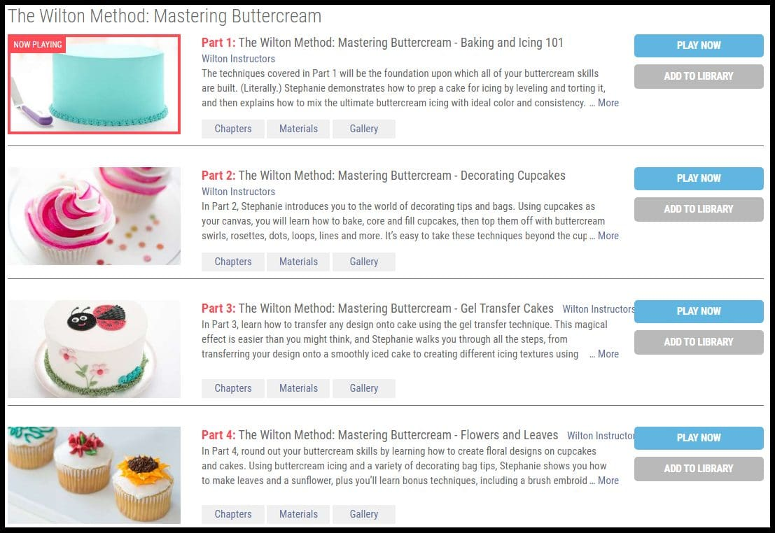 Step-by-step classes of the updated Wilton Method of cake decorating are available on Creativebug. Pause and replay as needed, read questions and answers, download PDF instructions all on this site.